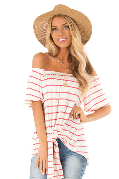65349718f6c Ivory Striped Off the Shoulder Striped Top with Tie Detail