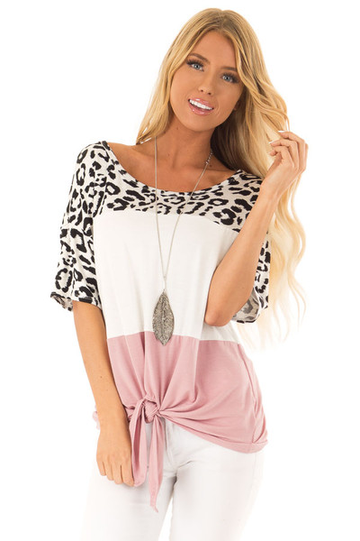c82645783643 Leopard Ivory and Mauve Color Block Top with Front Tie