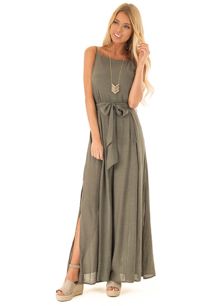 93748a0ff16f Dusty Olive Jumpsuit with Wide Leg Side Slit Detail