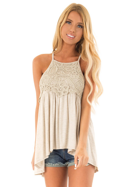 b596f8654a02 Oatmeal Sleeveless Top with Crochet Lace Overlay