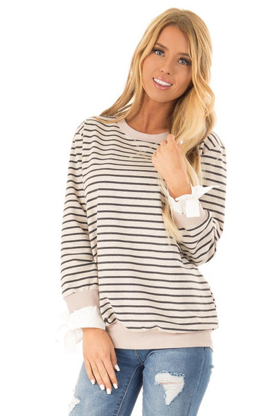 ebeb8826066 Oatmeal and Charcoal Striped Top with Sleeve Tie Details
