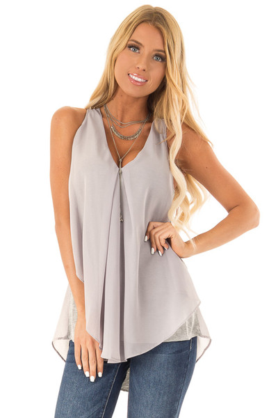 c0895a7de25 Silver Grey Razorback Tank Top with Sheer Overlay