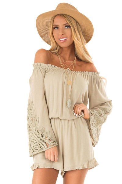d92202b2f343 Sage Off the Shoulder Romper with Lace Detail. Quick view