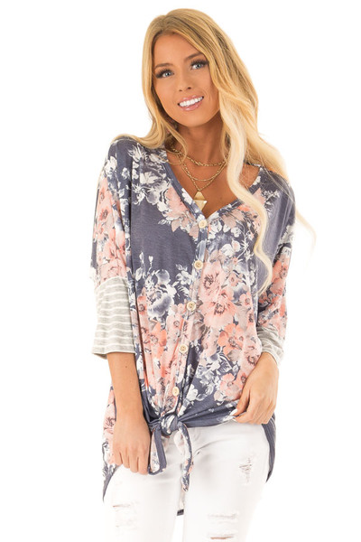 34e2bd528215 Navy Floral Print Button Up Top with Front Tie