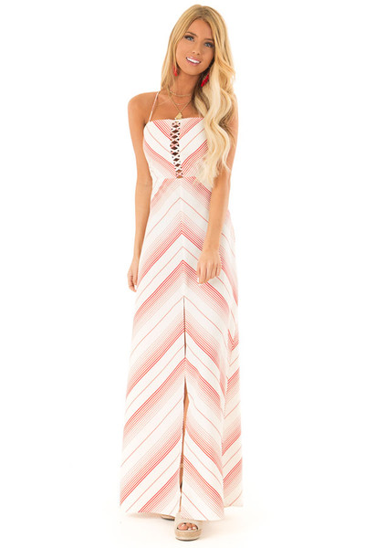 b41a2763da4 Ruby Red and Ivory Striped Maxi Dress with Cutout Detail