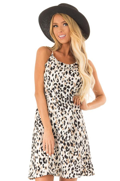 5140db4b17c Off White Leopard Print Spaghetti Strap Dress