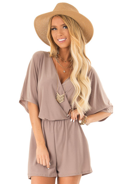 6d0e1ac8799 Mocha Surplice Romper with Pockets and Batwing Sleeves