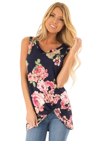 6f170a0398c23 Navy Floral Print Front Twist Sleeveless Top