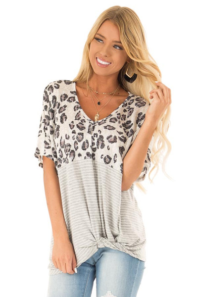 01f47caa28654 Multi Print Color Block Top with Front Twist Detail