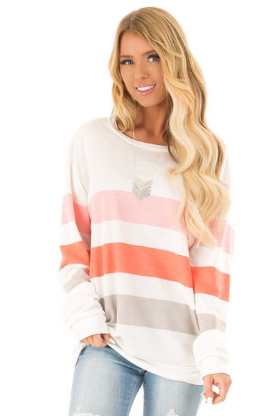 2de40ce44d235e Daisy White Oversized Blocked Striped Long Sleeve Top