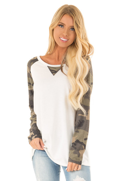 2849d34ea2331e Off White Raglan Top with Olive Camo Contrast Sleeves