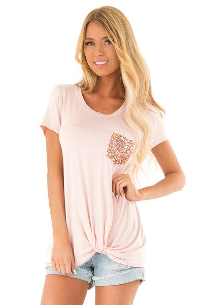 345a9cb13b0c4 Blush Short Sleeve Top with Front Twist and Sequin Pocket