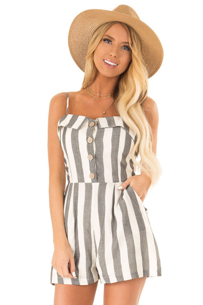 99255170e0b Cream and Charcoal Button Up Romper With Stripes. Quick view