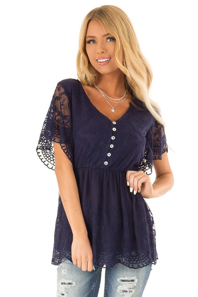 2105485618783d Navy Babydoll Short Sleeve Top with Lace Overlay