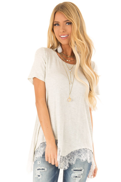 497d63b1d5099e Oatmeal Short Sleeve Loose Top with Scalloped Lace Hemline
