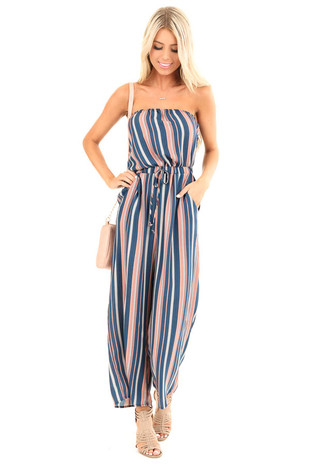 db8915043b4 Navy and Salmon Striped Strapless Tube Jumpsuit with Pockets
