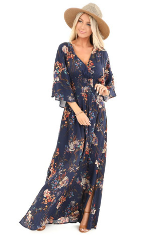 2faedb5db0ab Midnight Blue Floral V Neck Dress with Back Tie Detail