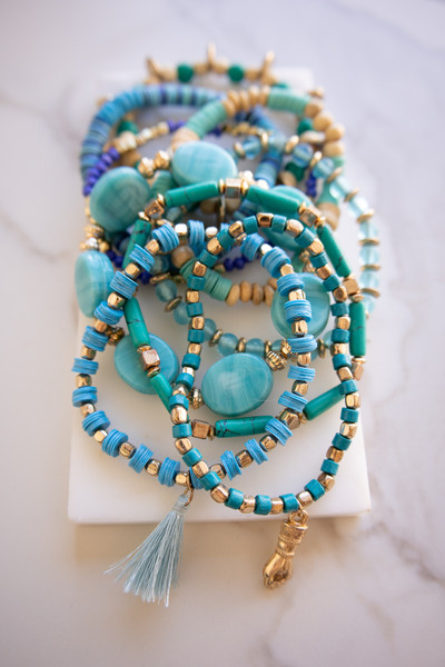 Wood turquoise floral beads