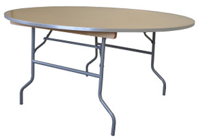 "60"" Round Wooden Table Straight View"
