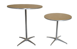 "30"" Round Wooden Cocktail/Bistro Table Both heights"