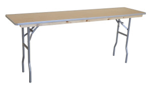 "6' x 18"" Rectangular Wooden Seminar Table Left Angle"