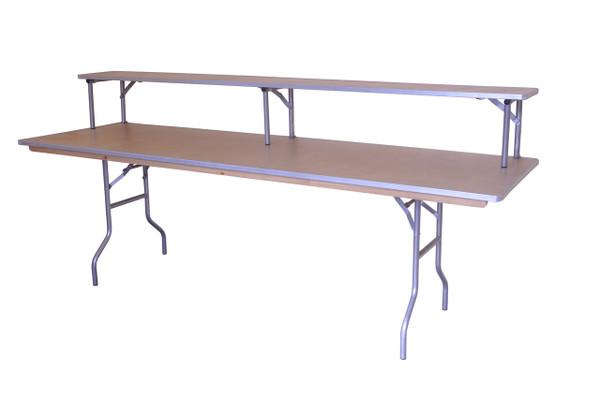 "8' x 30"" Rectangular Wood Banquet Table with Bartop Riser"