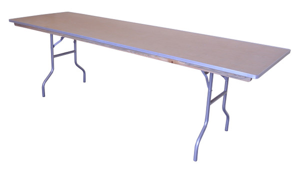 "8' x 30"" Rectangular Wood Banquet Table Right Angle"