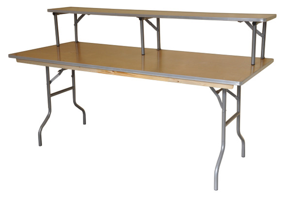 "6' x 30"" Rectangular Wood Banquet Table with Optional Bartop Riser"
