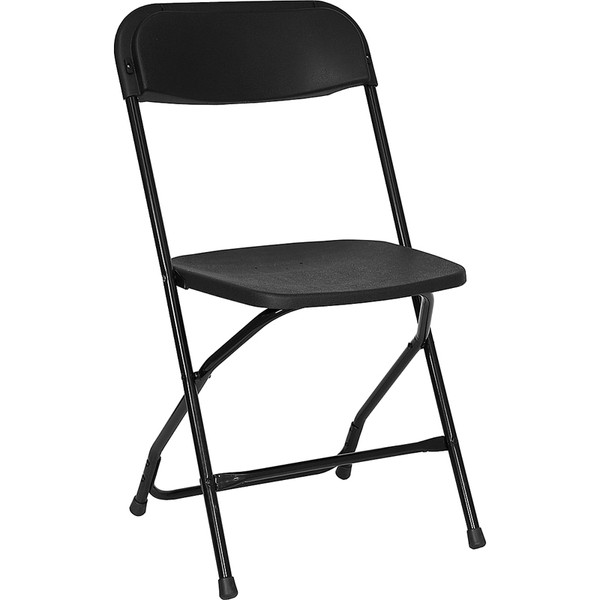 Black Folding Poly Chairs with Metal Frame