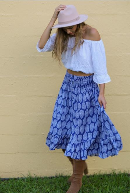 Tanya long summer skirt, large leaf royal white