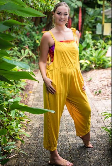 Renee Long playsuit, pantsuit for women colour Mustard