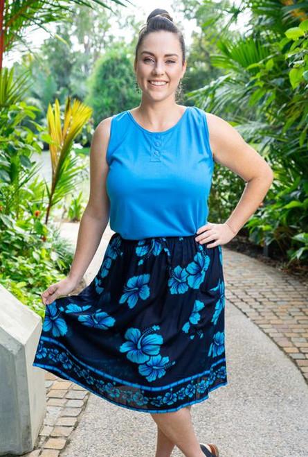 17993 Lenah 2 Pocket skirt Hibiscus