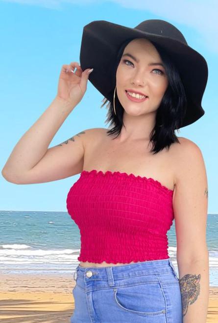 12998 Ladies Shirring Boob Tube - Ladies summer top