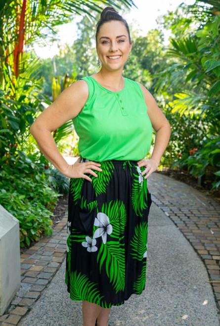 17990 Lenah 2 pocket Skirt Frangipani Palm