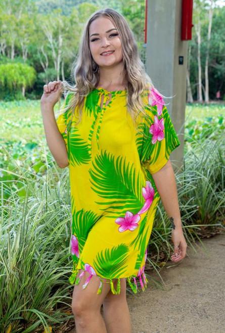Ladies fringe top, print Yellow palm print