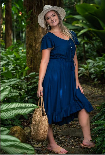 Sophia Ladies summer Dress, made from cool comfortable material perfect for hot weather colour navy