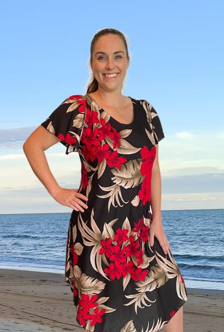 Vivi bias cut ladies plus size summer dress with sleeve colour  red