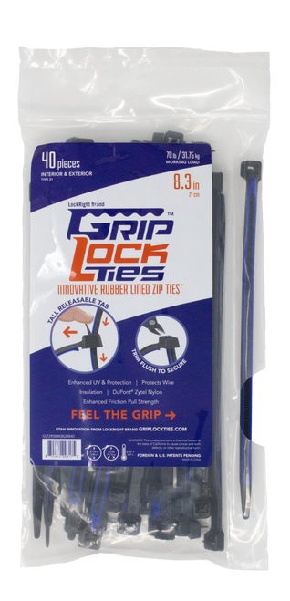 "GripLockTies 8.3"" long"