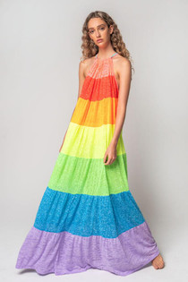 Popsicle Halter Dress in Rainbow - PETITE