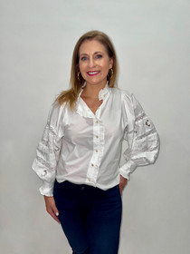 Label Blouse in White