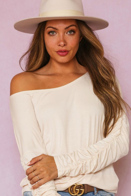 Cream Ruched Long Sleeve