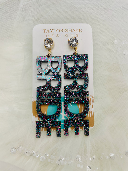 Rainbow Glitter BRIDE Earrings