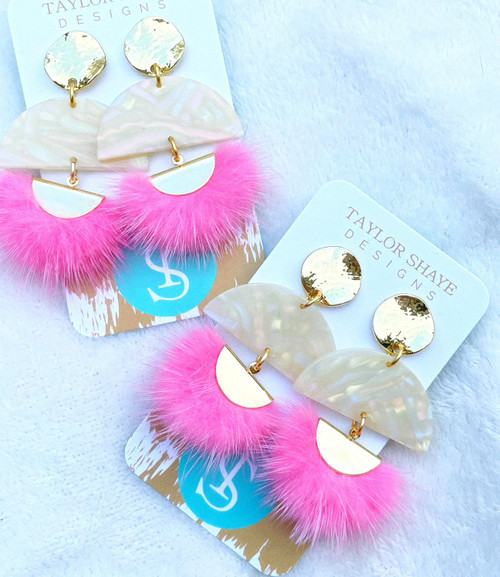 Pink Fluff Tassel Earrings