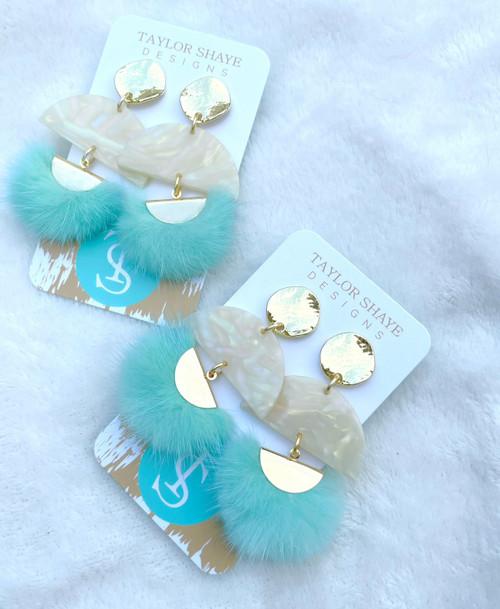 Blue Fluff Tassel Earrings