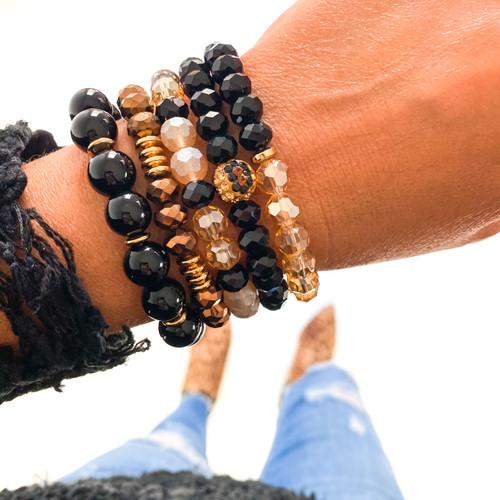 Bracelet Stack - Black & Gold