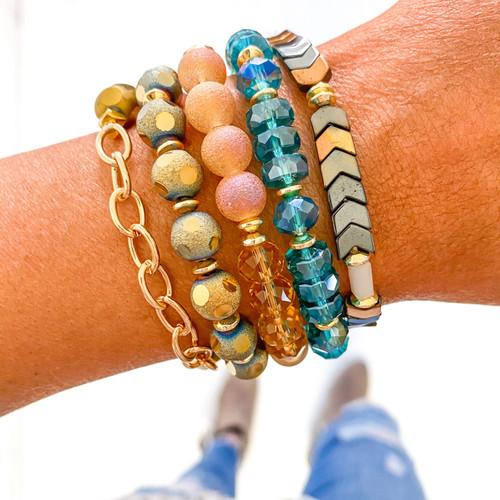 Bracelet Stack - Blue & Gold