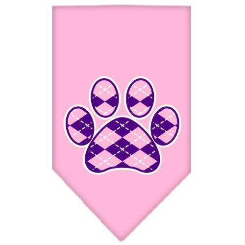 Argyle Paw Purple Screen Print Bandana Light Pink Large
