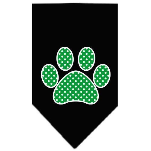 Green Swiss Dot Paw Screen Print Bandana Black Large
