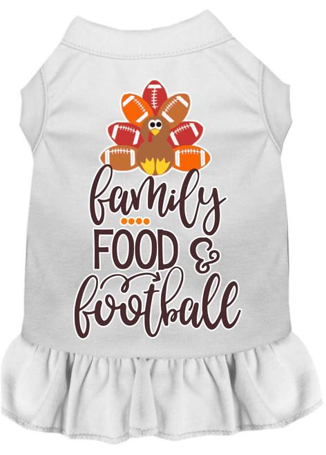 Family, Food, And Football Screen Print Dog Dress White Xxxl