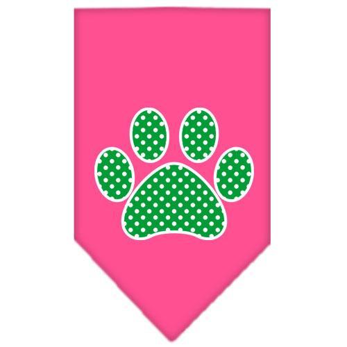 Green Swiss Dot Paw Screen Print Bandana Bright Pink Large